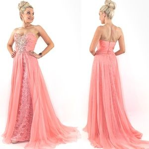Glam Pageant Prom Dress with Overlay Skirt